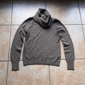 J. Crew Brown Merino Blend Cowl Neck Sweater Med